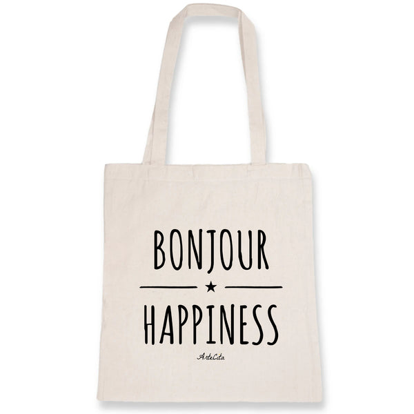 Tote Bag - Bonjour Happiness - 100% Coton Bio- Green Dressing - Mode Ethique