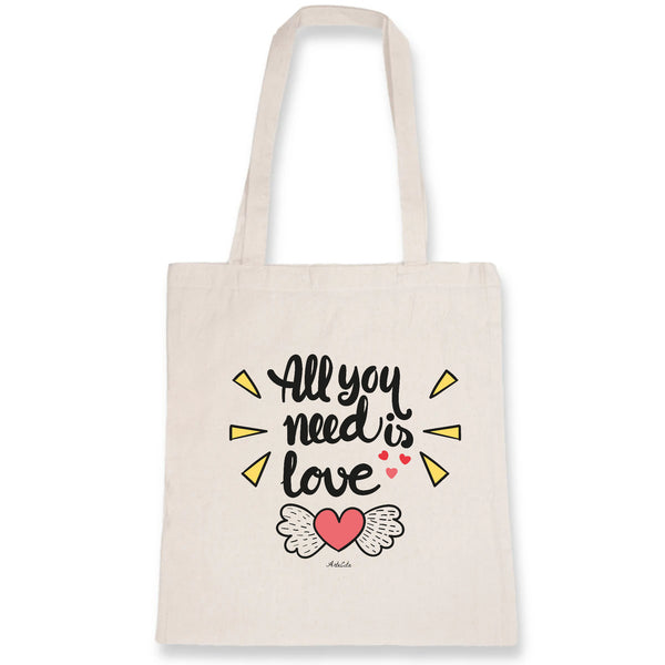 Tote Bag - All you need is Love - 100% Coton Bio- Green Dressing - Mode Ethique