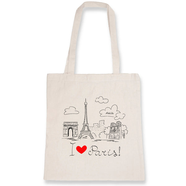Tote Bag - I Love Paris ! - 100% Coton Bio- Green Dressing - Mode Ethique