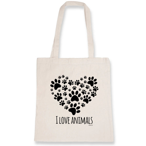 Tote Bag - I Love Animals - 100% Coton Bio- Green Dressing - Mode Ethique