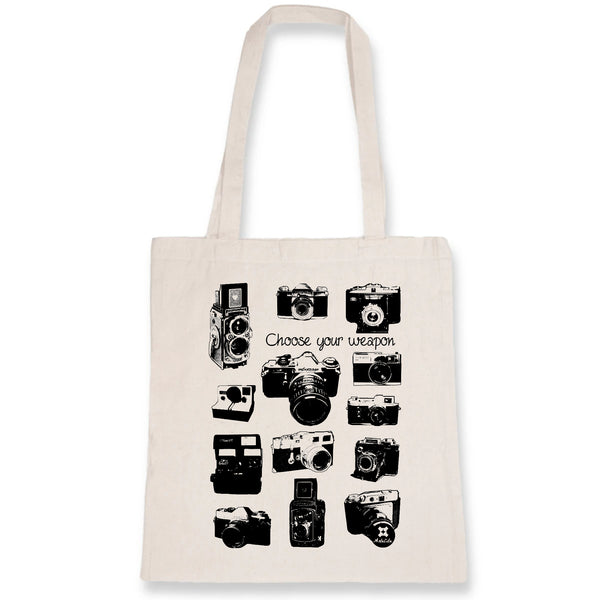 Tote Bag - Appareils Photo Vintage / Choose your Weapon - 100% Coton Bio- Green Dressing - Mode Ethique