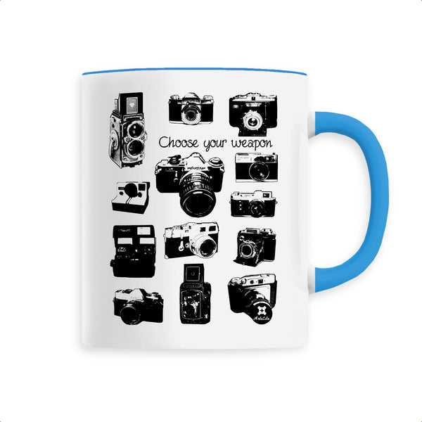 Mug - Appareils Photo Vintage / Choose your Weapon - Céramique Premium - 6 Coloris- Green Dressing - Mode Ethique