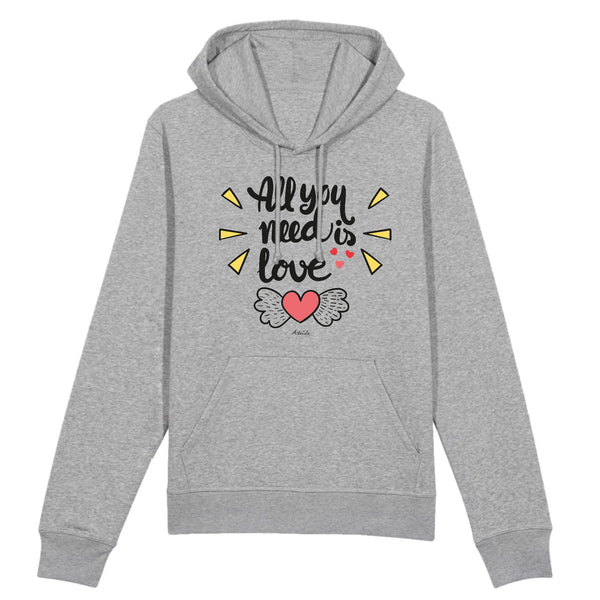 Sweat à capuche - All you need is Love - Coton Bio - 2 Coloris- Green Dressing - Mode Ethique