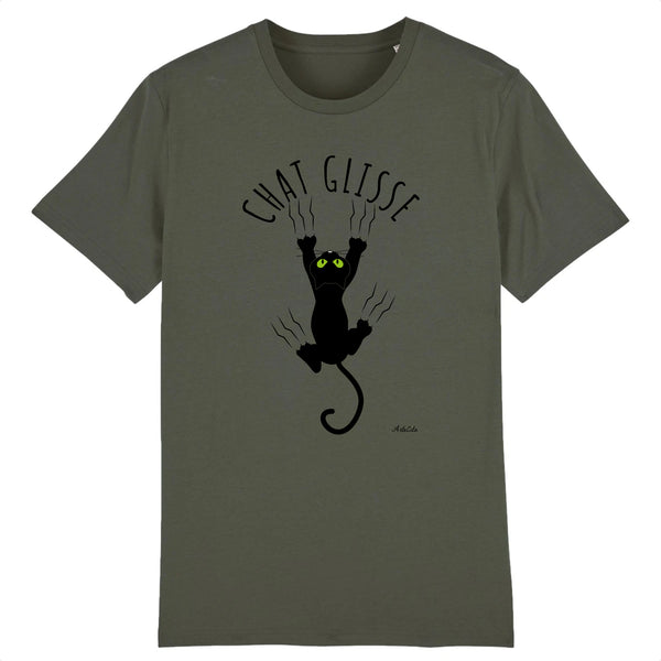 T-Shirt - Chat Glisse - Coton Bio - 5 Coloris- Green Dressing - Mode Ethique