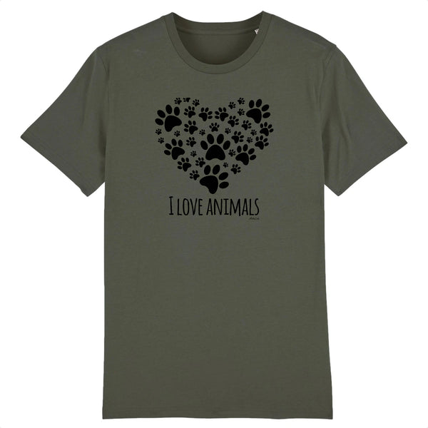 T-Shirt - I Love Animals - Coton Bio - 5 Coloris- Green Dressing - Mode Ethique