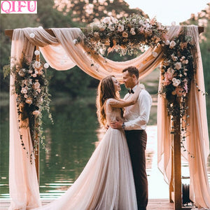 QIFU Yarn Crystal Tulle Organza Wedding Arch Decor Garden Pergolas Garden Arch Decor Wedding Background Wall Decor Mariage