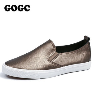 GOGC Women Slipony Breathable Leather Slip on Flat Shoes Women High Quality Breathable Women Shoe Female Causal Shoes Loafer 888
