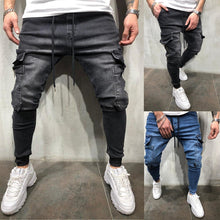 Load image into Gallery viewer, Men Clothes Hip Hop Sweatpants Skinny Motorcycle Denim Pants Zipper Designer Black Jeans Mens Casual Men Jeans Trousers