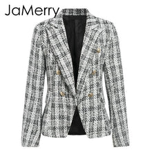 Load image into Gallery viewer, JaMerry Vintage 2 piece set plaid blazer women Buttons double breast office lady blazer jackets work wear female blazer suits
