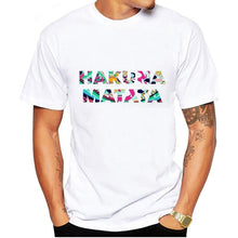Load image into Gallery viewer, LUSLOS Fashion Cool T Shirt Men Tshirt Short-sleeved Casual White Tshirts Hakuna Matata Letter Printed Male T-shirts Men Clothes