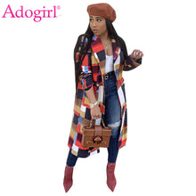 Load image into Gallery viewer, Adogirl Colorful Plaid Woolen Coat Turn Down Collar Double Breasted Fashion Casual Wool Jacket Warm Winter Long Outwear Outfits