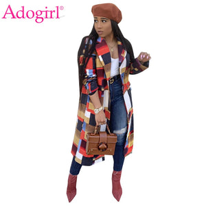 Adogirl Colorful Plaid Woolen Coat Turn Down Collar Double Breasted Fashion Casual Wool Jacket Warm Winter Long Outwear Outfits