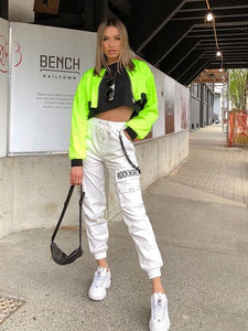 Rockmore Black Cargo Pants With Chain Pockets Women High Waist Trousers White Wide Leg Pants Femme Pant Winter Streetwear Fall