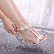 Load image into Gallery viewer, Crystal Queen Women Sandals White Lace Flowers Pearl Tassel Bridal 9cm Heel Fine High Heels Slender Bridal Pumps Wedding Shoes