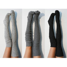 Load image into Gallery viewer, Women Over Knee Socks Fashion Female Sexy Stockings Warm Long Boot Knit Thigh-High Gray Khaki Blue Black