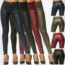 Load image into Gallery viewer, ZOGAA Autumn Women Leather Pants Women Female Winter High Waiste Pants Leather Trousers Women PU Skinny Stretch Pencil Pantalons