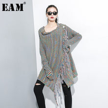 Load image into Gallery viewer, [EAM] Tassel Oversize Knitting Sweater Poncho Loose Fit Round Neck Long Sleeve Women New Fashion Autumn Winter 2020 1A701