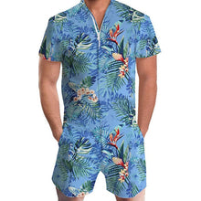 Load image into Gallery viewer, Men Rompers Short Sleeve Street One Piece Zipper Romper Beach Casual Cargo Pants Jumpsuit Overall Shirt T-Shirt Shorts Set