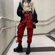 Load image into Gallery viewer, Rockmore Black Cargo Pants With Chain Pockets Women High Waist Trousers White Wide Leg Pants Femme Pant Winter Streetwear Fall