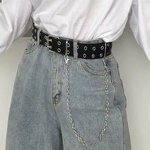 Load image into Gallery viewer, Women Punk Chain Fashion Belt Adjustable Double/Single Row Hole Eyelet Waistband with Eyelet Chain Decorative Belts 2019 New