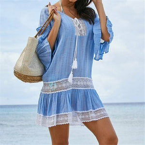 Women Lace Patchwork Beach Dress 2020 Hot Sale Swimwear Bikini Cover-up Beach Wear Cover Up New Ladies Lace Crochet Summer Dress