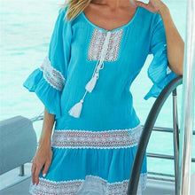Load image into Gallery viewer, Women Lace Patchwork Beach Dress 2020 Hot Sale Swimwear Bikini Cover-up Beach Wear Cover Up New Ladies Lace Crochet Summer Dress