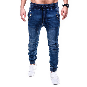 Jeans pants men's jeans casual running zipper stylish slim jeans pants hombr joggers estiramento masculino jean