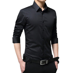 LITTHING Male White Camicas Men Spring Long Sleeve Shirts Turndown Collar Mens Blouses Korean Slim Fit Solid Business Tops