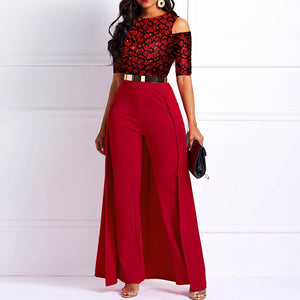 Wide Legs Sexy Jumpsuit Print Women Off shoulder Long Sleeve 2020 Casual Party Elegant Office Ladies Swallowtail long Jumpsuits