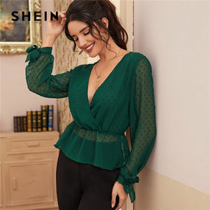 SHEIN Deep V Neck Solid Swiss Dot Surplice Front Knotted Cuff Sexy Peplum Blouse Women Spring Long Sleeve Ruffle Hem Blouses