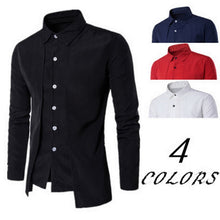 Load image into Gallery viewer, SHUJIN Men Shirts Casual Fake Two Piece Brand Bussiness Dress Shirts Autumn Solid Cotton Formal Clothing Long-Sleeved Top-blouse