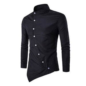 SHUJIN Men Shirts Casual Fake Two Piece Brand Bussiness Dress Shirts Autumn Solid Cotton Formal Clothing Long-Sleeved Top-blouse