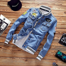 Load image into Gallery viewer, LBL Denim Jacket Men Autumn Fashion Cool Trendy Mens Jean Jackets Spring Casual Coat Outwear Stand Collar Motorcycle Cowboy 2019