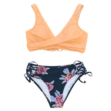 Load image into Gallery viewer, CUPSHE Orange And Purple Floral Lace-Up Bikini Sets Women Boho Two Pieces Swimsuits 2020 Girl Beach Bathing Suits Swimwear
