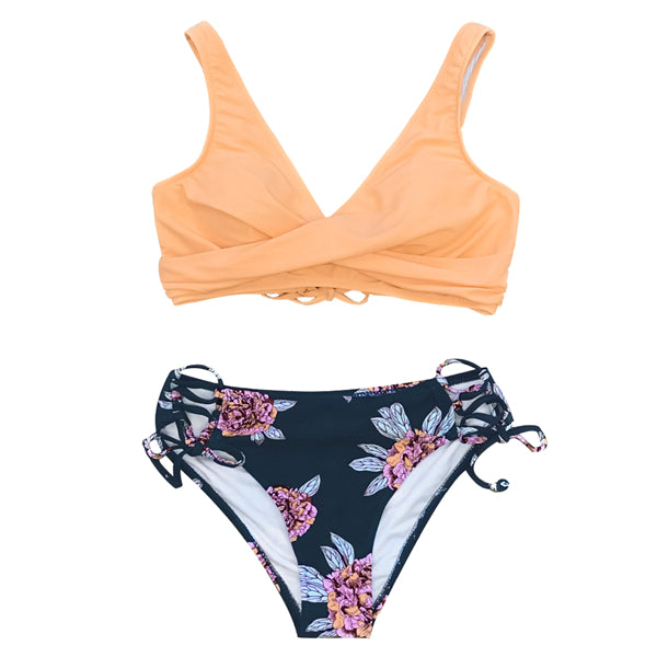 CUPSHE Orange And Purple Floral Lace-Up Bikini Sets Women Boho Two Pieces Swimsuits 2020 Girl Beach Bathing Suits Swimwear