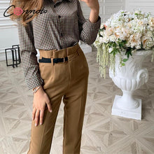 Load image into Gallery viewer, Conmoto High Waist Pencil bottoms Pants women 2019 Autumn Winter Female Casual Belt Patchwork Long pants Blazer femme Trouser