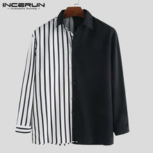 Load image into Gallery viewer, INCERUN Men Shirt Long Sleeve Striped Patchwork Lapel Collar Chic Casual Shirts Men Button Breathable Camisas Hombre 2019 S-5XL