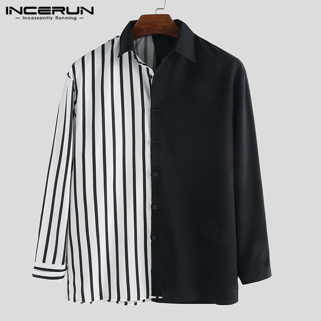 INCERUN Men Shirt Long Sleeve Striped Patchwork Lapel Collar Chic Casual Shirts Men Button Breathable Camisas Hombre 2019 S-5XL
