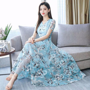 Women Summer Dress Plus Size Floral Printed Korean Dress Short Sleeve Party Dresses For Women Robe Longue Boheme Drop shipping c