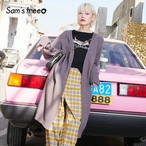 SAM'S TREE Multicolor Solid Casual Knit Cardigans Sweater Women 2020 Winter Single Covered Button Long Sleeve Soft Ladies Tops