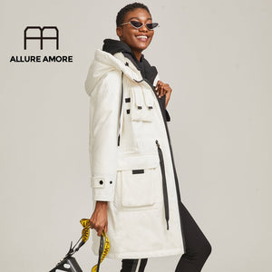 Allure Amore 2019 Winter Cotton Coat Women Zipper Big Pocket  Outwear Jackets Hooded Thicken Warm Parkas Ladies