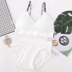 Fashion Women Bra Briefs Set Letter Strap Knitting Active Bra With Pad Sexy Lingerie Set For Women Seamless Sports Underwear Set