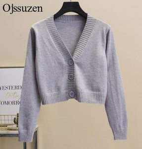 Women's Cropped Cardigan Sweaters Female With Button Black White Short Sweater V Neck Long Sleeve Sweater Women Knitted Cardigan