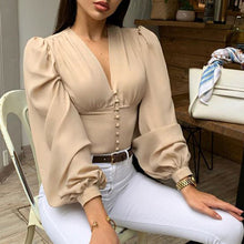 Load image into Gallery viewer, Leopard Turtleneck Satin Silk Women Blouse Sexy Hollow Out Backless Shirt Blouse Elegant Autumn Long Sleeve Pleated Top Blusa XL