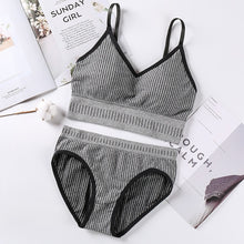 Load image into Gallery viewer, Fashion Women Bra Briefs Set Letter Strap Knitting Active Bra With Pad Sexy Lingerie Set For Women Seamless Sports Underwear Set