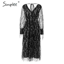 Load image into Gallery viewer, Simplee Sexy v-neck evening women maxi dress Elegant mesh long sleeve sequin night dress autumn lady plus size party dress 2019