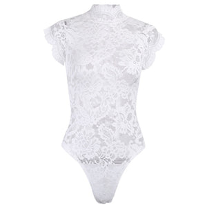 InstaHot Mesh Lace Bodysuit Women Sexy Backless Lace Up Sleeveless Rompers Party Club Ruffles Black White Slim Bodysuit 2019 New