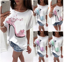 Load image into Gallery viewer, Women's t-shirt Solid Cotton Linen Short Sleeve High Heels Printed Tops Beach Fashion Tops