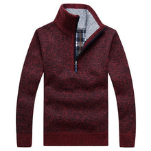 Load image into Gallery viewer, Autumn Men's Thick Warm Knitted Pullover Solid Long Sleeve Turtleneck Sweaters Half Zip Wool Fleece Winter Coat Comfy Clothing