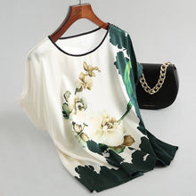 Load image into Gallery viewer, Women Silk Satin Blouses Plus size Batwing sleeve Vintage Print Floral Blouse Ladies Casual Short sleeve Tops